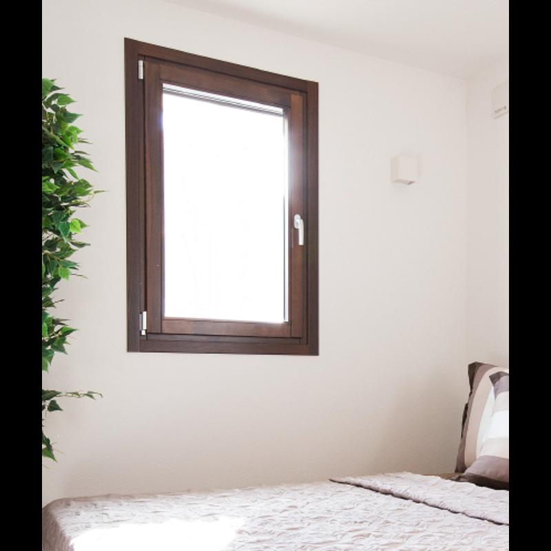木製サッシ イタリカ 片開き腰窓 左吊元 ダークウォールナット