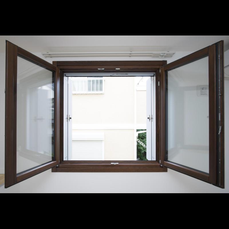 木製サッシ イタリカ 両開き腰窓 ダークウォールナット