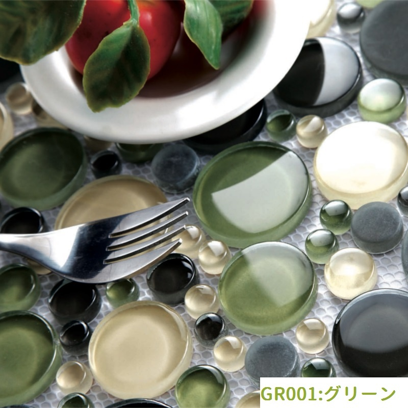 円形モザイクタイル(GR001:グリーン)